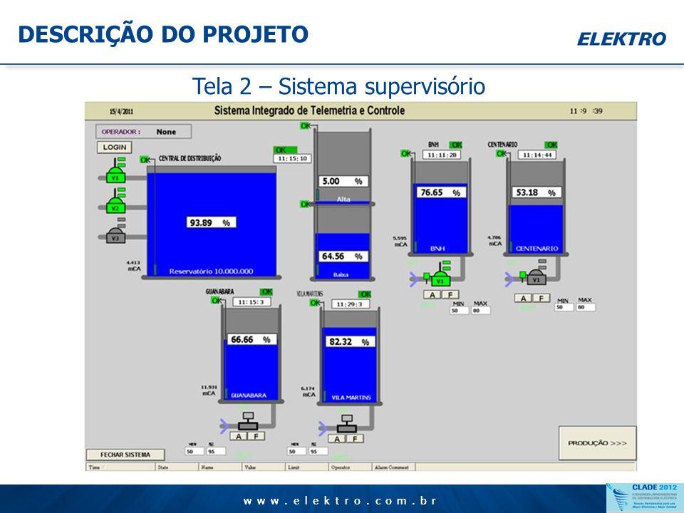www.elektro.com.br DESCRIÇÃO DO PROJETO Tela 1 – Sistema supervisório
