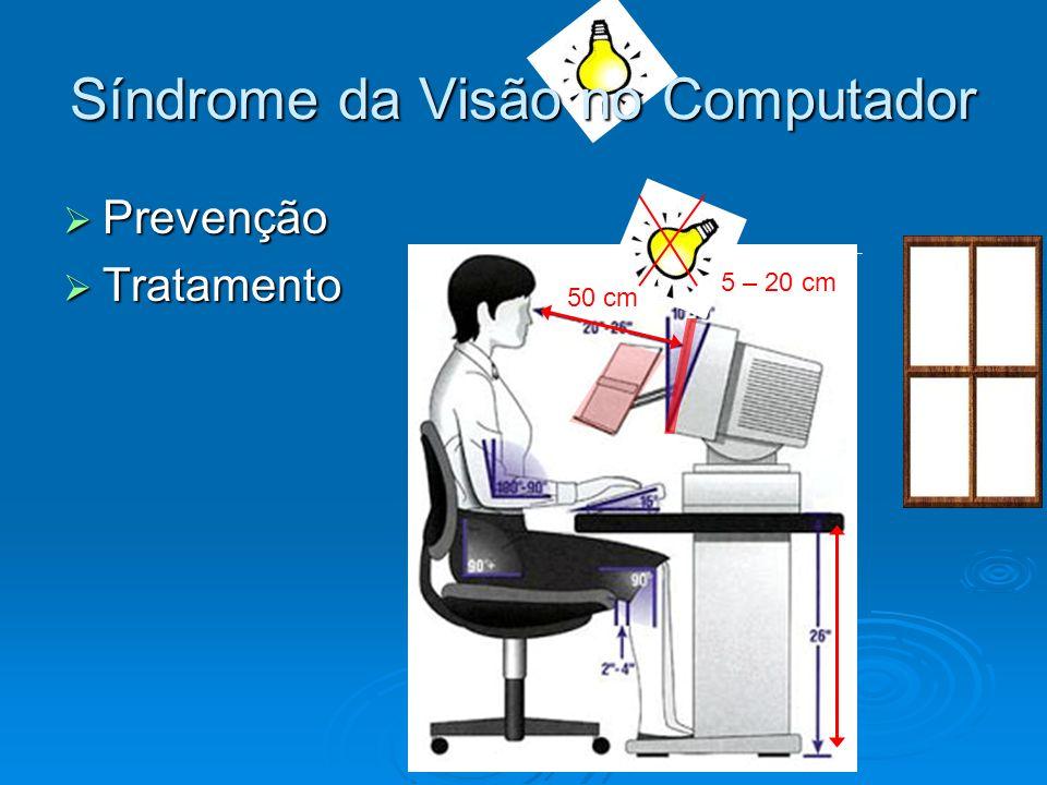 Síndrome da Visão no Computador Prevenção Prevenção Tratamento Tratamento 15 – 20 cm 50 cm