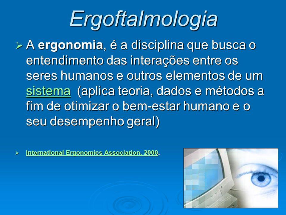 Ergoftalmologia A ergonomia, é a disciplina que busca o entendimento das interações entre os seres humanos e outros elementos de um sistema (aplica te