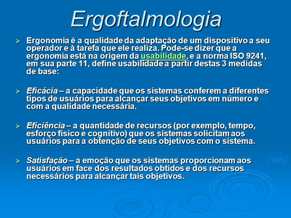 Ergoftalmologia Ergonomia é a qualidade da adaptação de um dispositivo a seu operador e à tarefa que ele realiza. Pode-se dizer que a ergonomia está n