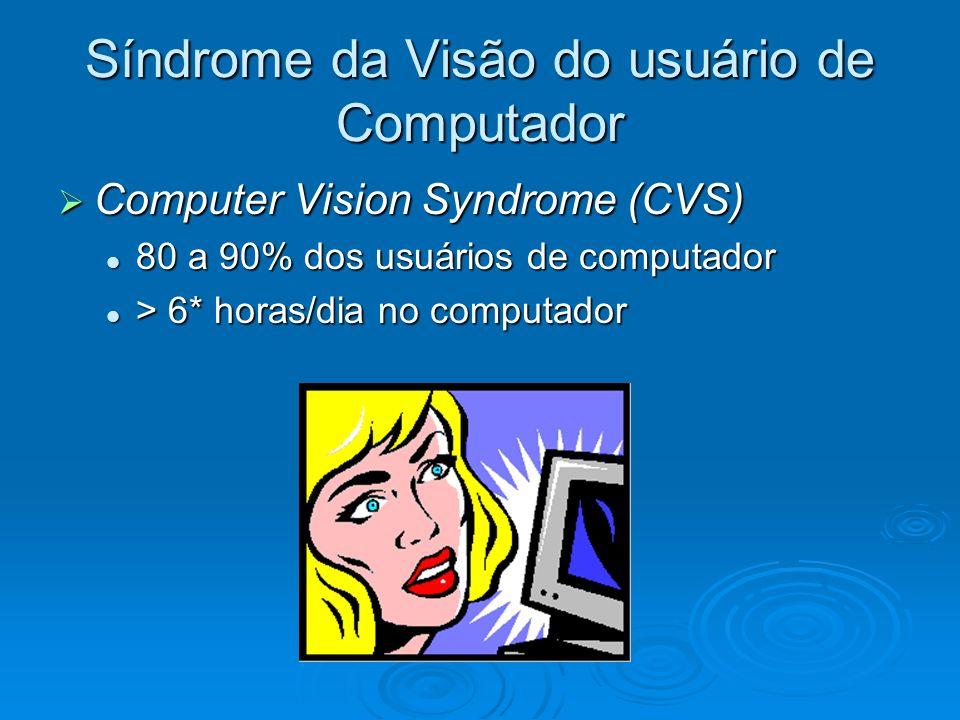 Síndrome da Visão do usuário de Computador Computer Vision Syndrome (CVS) Computer Vision Syndrome (CVS) 80 a 90% dos usuários de computador 80 a 90%