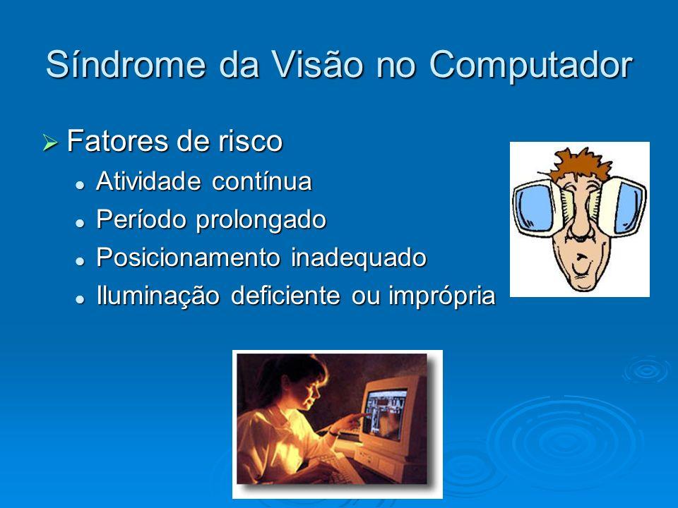 Síndrome da Visão no Computador Fatores de risco Fatores de risco Atividade contínua Atividade contínua Período prolongado Período prolongado Posicion