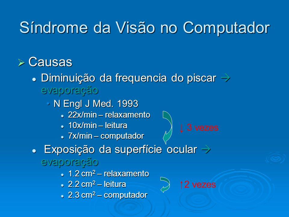 Síndrome da Visão no Computador Causas Causas Diminuição da frequencia do piscar evaporação Diminuição da frequencia do piscar evaporação N Engl J Med