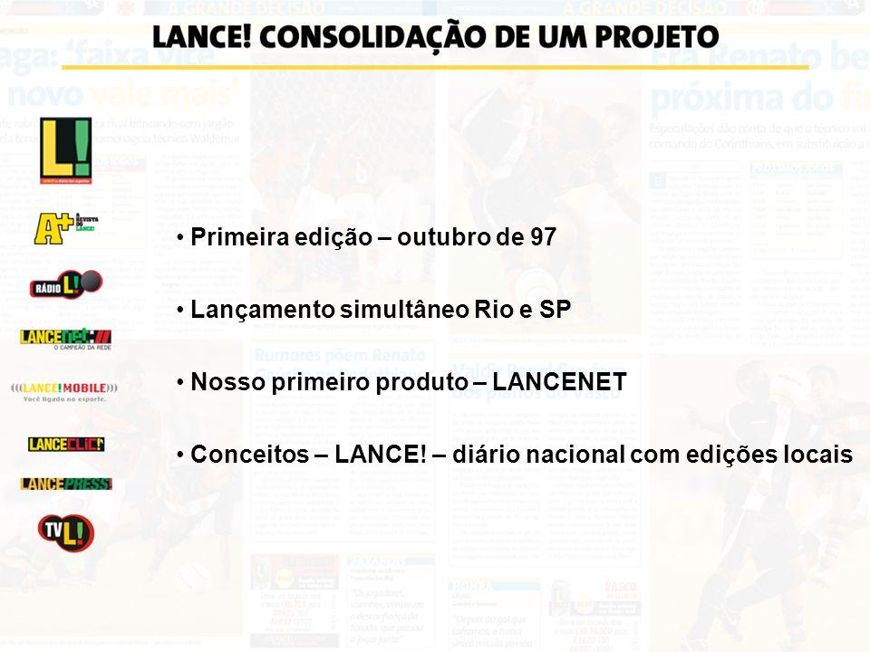 Primeira edição – outubro de 97 Lançamento simultâneo Rio e SP Nosso primeiro produto – LANCENET Conceitos – LANCE! – diário nacional com edições loca