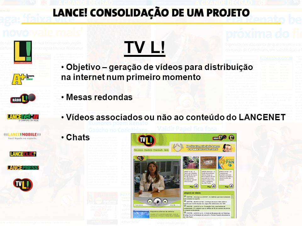 TV L! Objetivo – geração de vídeos para distribuição na internet num primeiro momento Mesas redondas Chats Vídeos associados ou não ao conteúdo do LAN