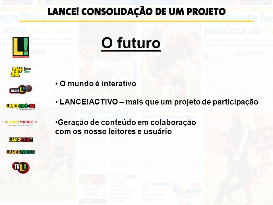 O futuro O mundo é interativo LANCE!ACTIVO – mais que um projeto de participação Geração de conteúdo em colaboração com os nosso leitores e usuário