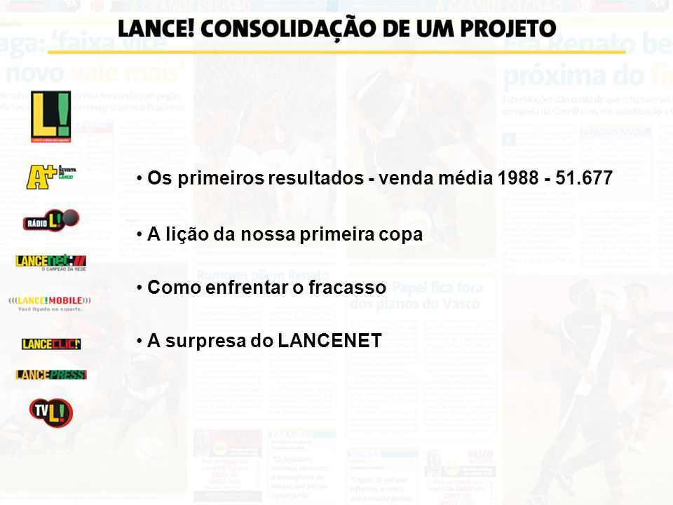 Os primeiros resultados - venda média 1988 - 51.677 A lição da nossa primeira copa Como enfrentar o fracasso A surpresa do LANCENET