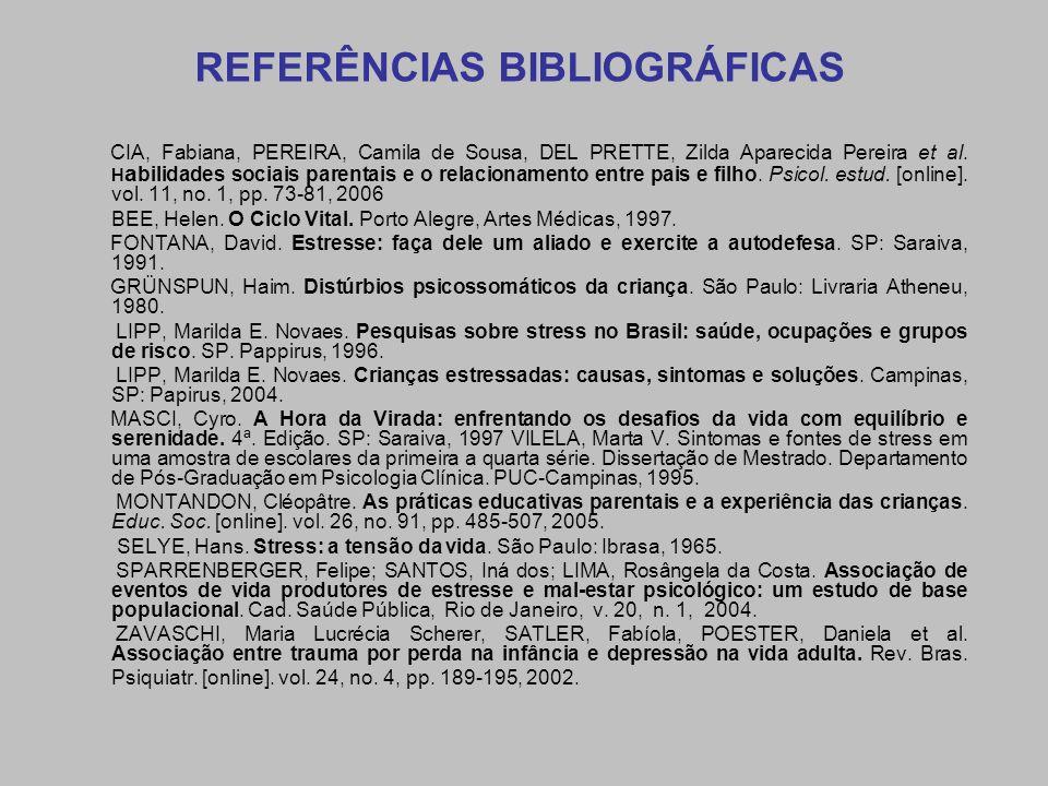 REFERÊNCIAS BIBLIOGRÁFICAS CIA, Fabiana, PEREIRA, Camila de Sousa, DEL PRETTE, Zilda Aparecida Pereira et al. H a bilidades sociais parentais e o rela