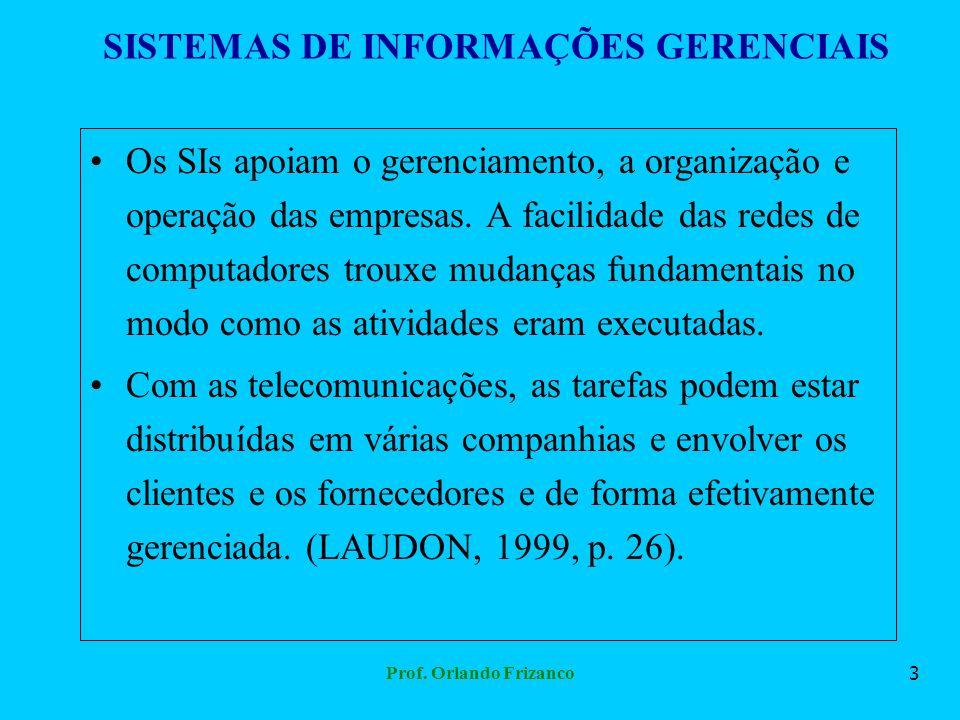 Prof. Orlando Frizanco3 SISTEMAS DE INFORMAÇÕES GERENCIAIS Os SIs apoiam o gerenciamento, a organização e operação das empresas. A facilidade das rede