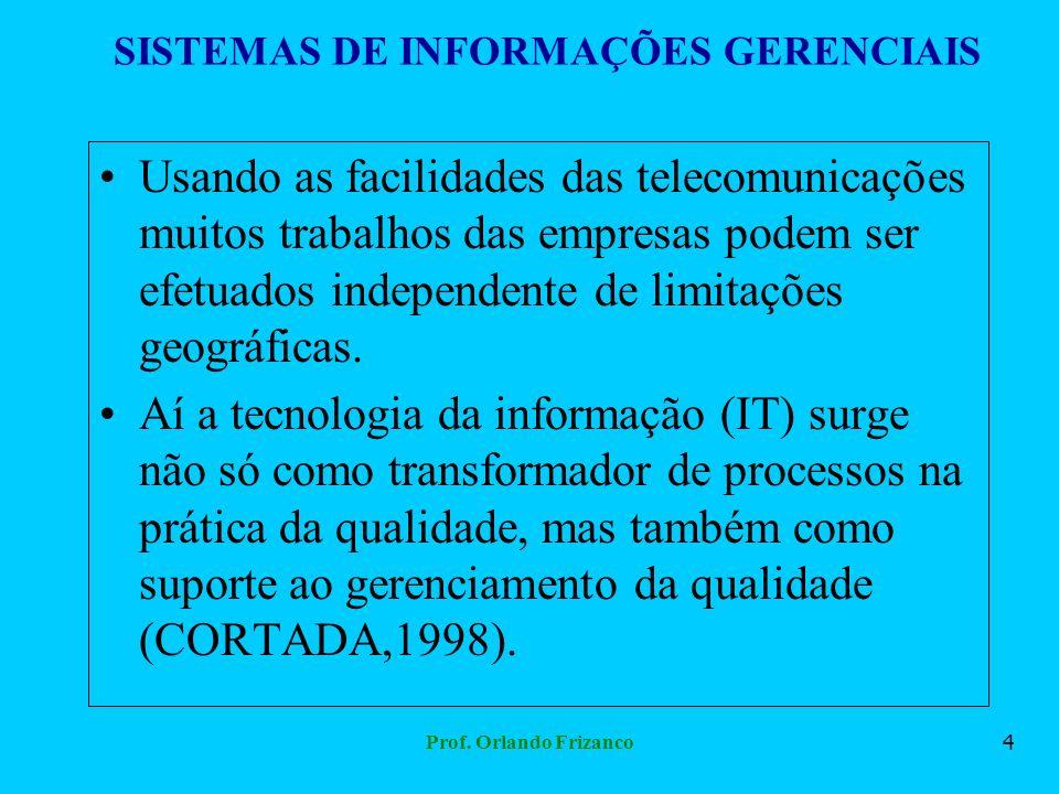 Prof. Orlando Frizanco4 SISTEMAS DE INFORMAÇÕES GERENCIAIS Usando as facilidades das telecomunicações muitos trabalhos das empresas podem ser efetuado