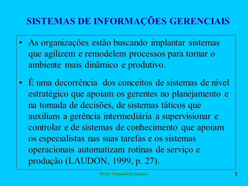 Prof. Orlando Frizanco5 SISTEMAS DE INFORMAÇÕES GERENCIAIS As organizações estão buscando implantar sistemas que agilizem e remodelem processos para t