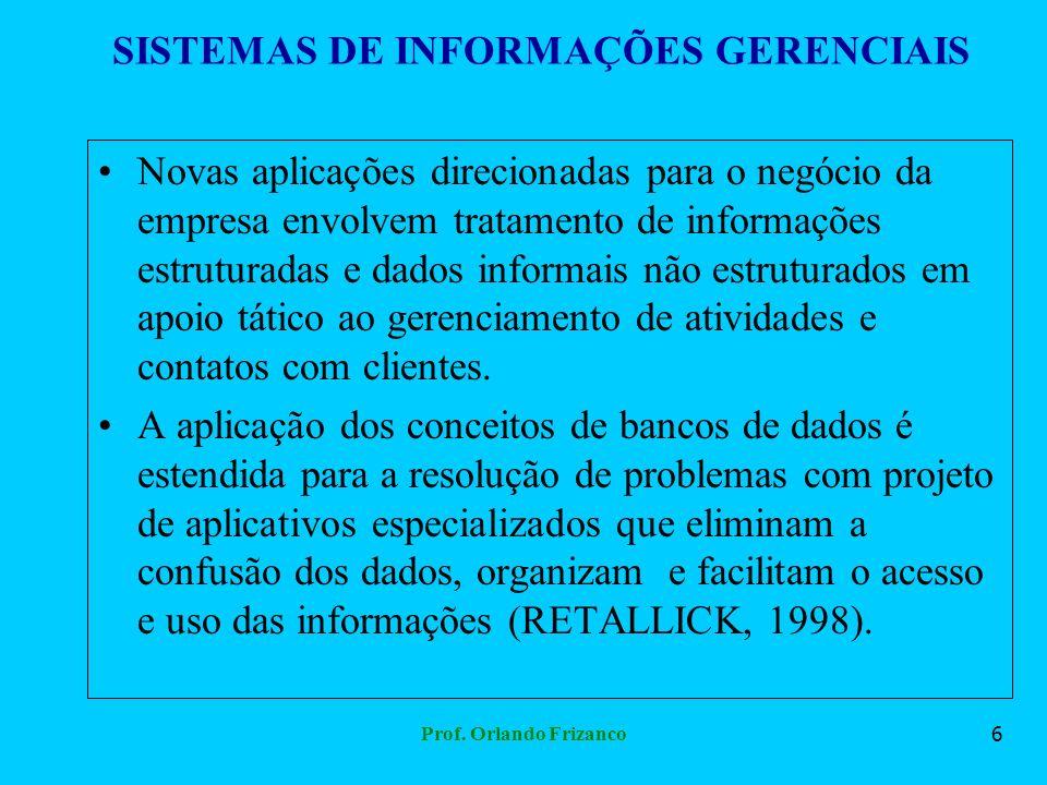 Prof. Orlando Frizanco6 SISTEMAS DE INFORMAÇÕES GERENCIAIS Novas aplicações direcionadas para o negócio da empresa envolvem tratamento de informações