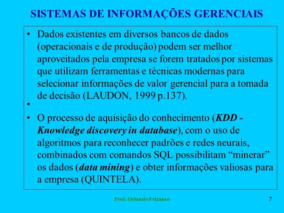 Prof. Orlando Frizanco7 SISTEMAS DE INFORMAÇÕES GERENCIAIS Dados existentes em diversos bancos de dados (operacionais e de produção) podem ser melhor