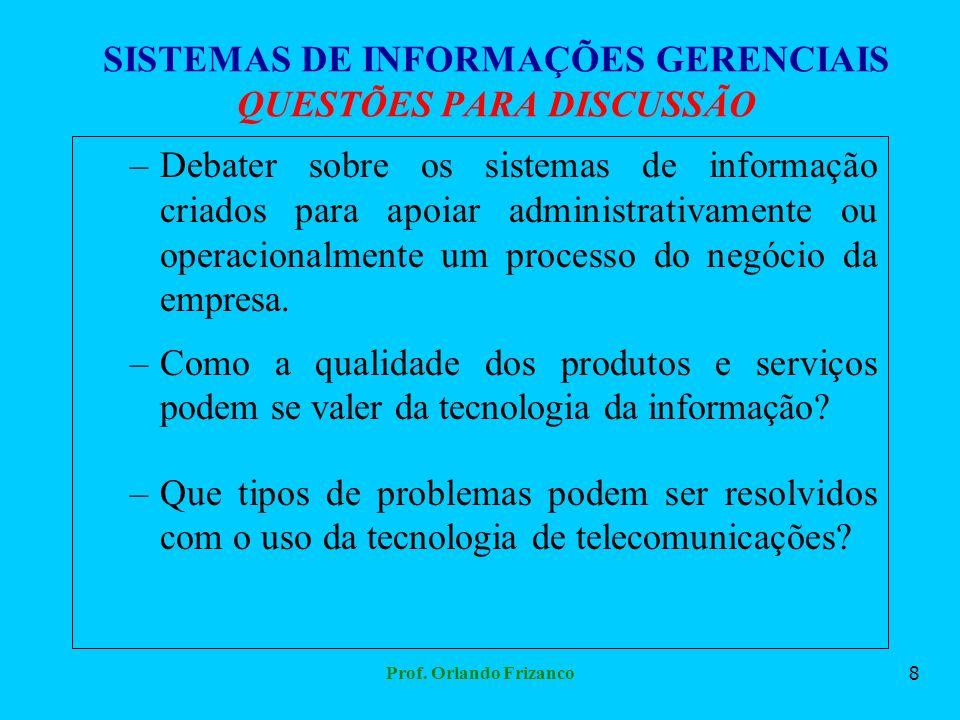 Prof. Orlando Frizanco8 SISTEMAS DE INFORMAÇÕES GERENCIAIS QUESTÕES PARA DISCUSSÃO –Debater sobre os sistemas de informação criados para apoiar admini