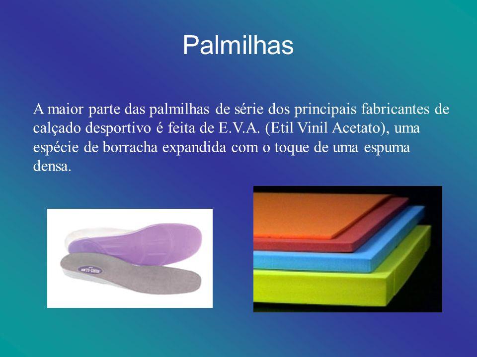 Palmilhas A maior parte das palmilhas de série dos principais fabricantes de calçado desportivo é feita de E.V.A. (Etil Vinil Acetato), uma espécie de