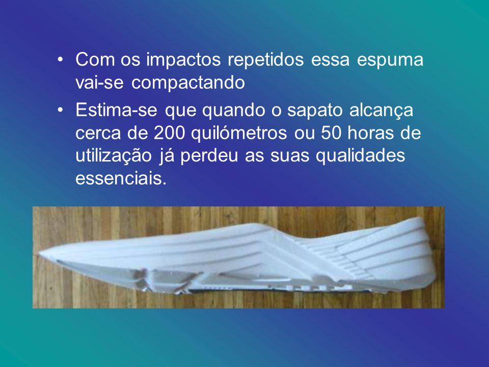 Com os impactos repetidos essa espuma vai-se compactando Estima-se que quando o sapato alcança cerca de 200 quilómetros ou 50 horas de utilização já p