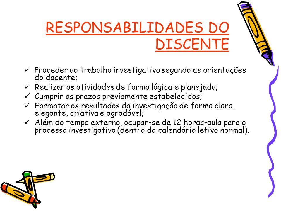 RESPONSABILIDADES DO DISCENTE Proceder ao trabalho investigativo segundo as orientações do docente; Realizar as atividades de forma lógica e planejada