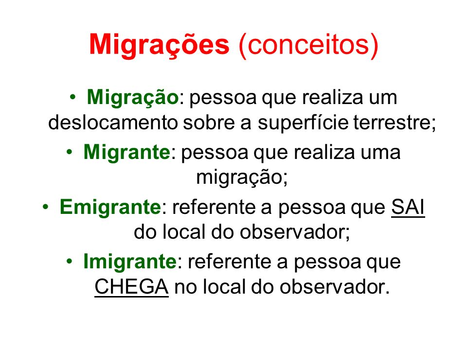 Migrações (conceitos) Migração: pessoa que realiza um deslocamento sobre a superfície terrestre; Migrante: pessoa que realiza uma migração; Emigrante: