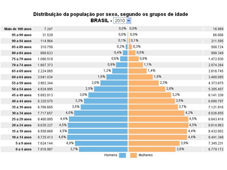 Formatos das Pirâmides País em Desenvolvimento País Desenvolvido - T. Natalidade + Exp. Vida