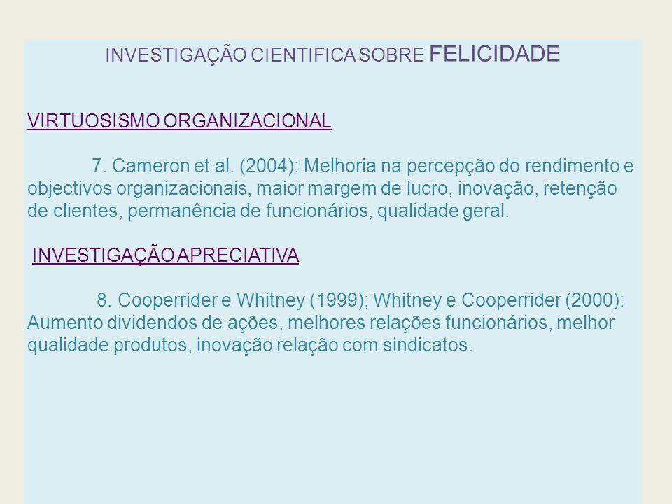 INVESTIGAÇÃO CIENTIFICA SOBRE FELICIDADE VIRTUOSISMO ORGANIZACIONAL 7. Cameron et al. (2004): Melhoria na percepção do rendimento e objectivos organiz