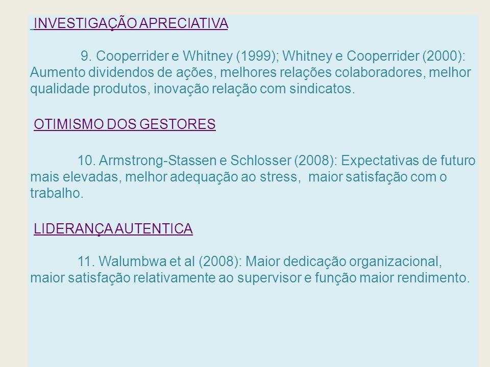 INVESTIGAÇÃO APRECIATIVA 9. Cooperrider e Whitney (1999); Whitney e Cooperrider (2000): Aumento dividendos de ações, melhores relações colaboradores,