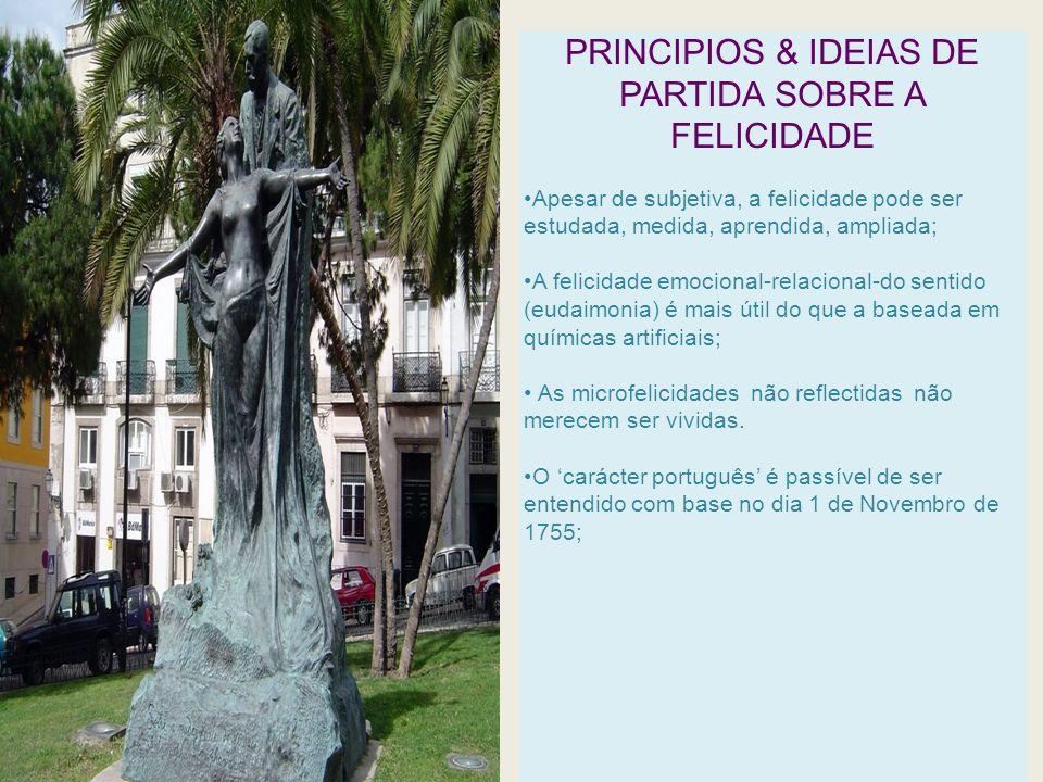 PRINCIPIOS & IDEIAS DE PARTIDA SOBRE A FELICIDADE Apesar de subjetiva, a felicidade pode ser estudada, medida, aprendida, ampliada; A felicidade emoci