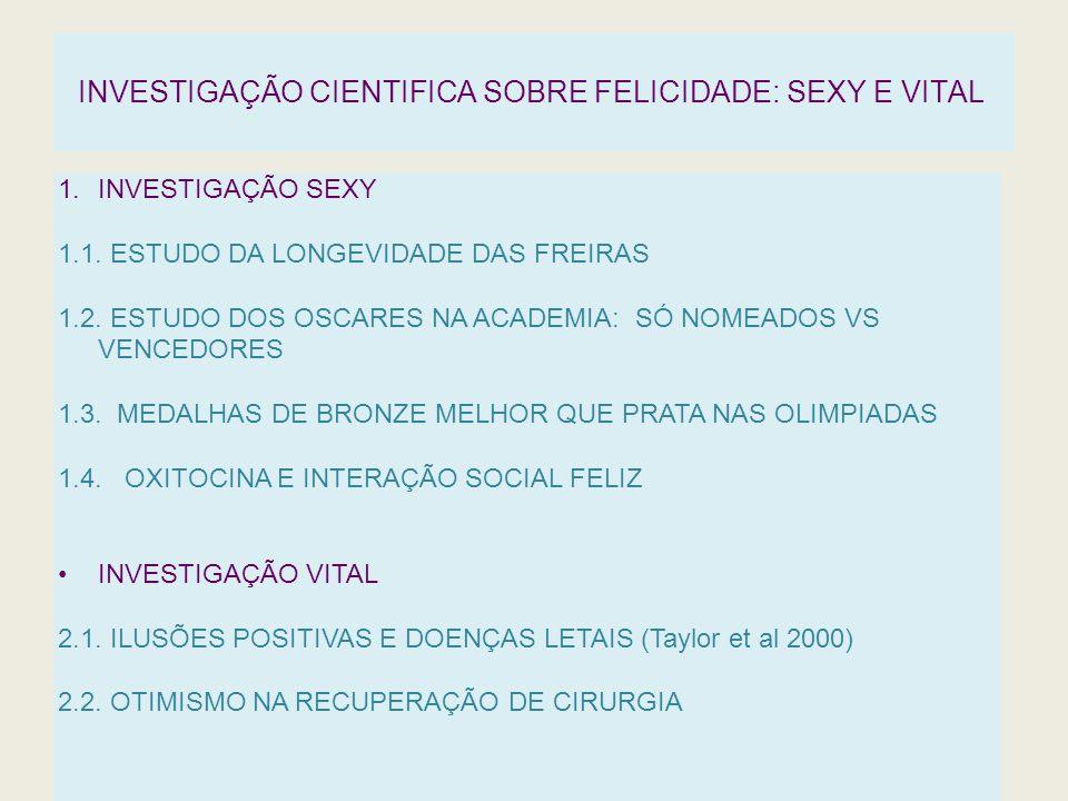 INVESTIGAÇÃO CIENTIFICA SOBRE FELICIDADE: SEXY E VITAL 1.INVESTIGAÇÃO SEXY 1.1. ESTUDO DA LONGEVIDADE DAS FREIRAS 1.2. ESTUDO DOS OSCARES NA ACADEMIA:
