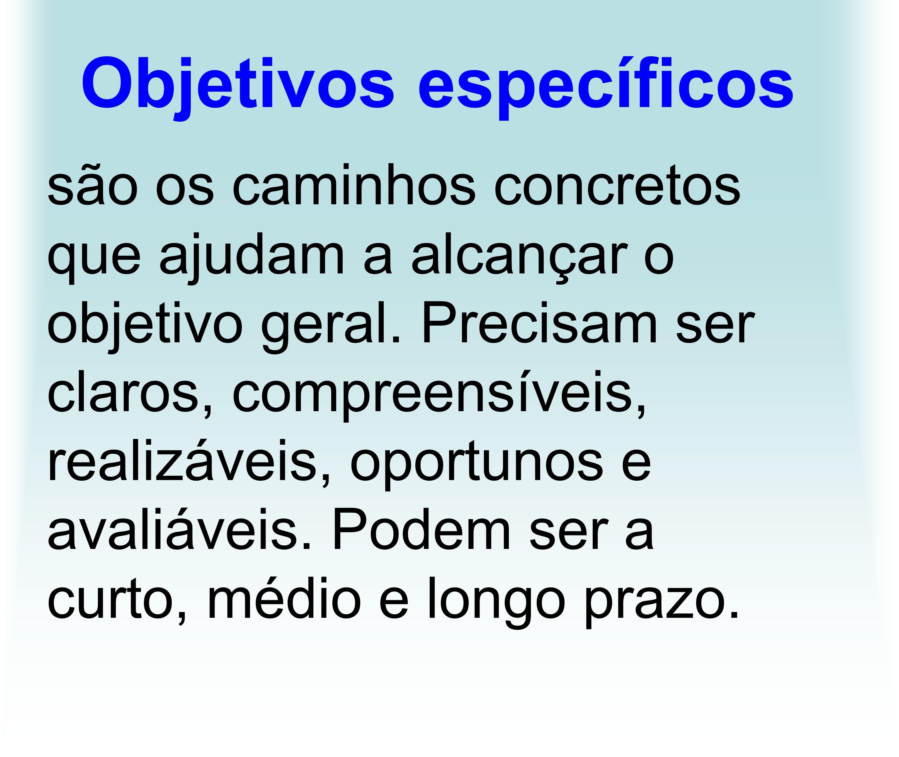 Objetivos específicos são os caminhos concretos que ajudam a alcançar o objetivo geral. Precisam ser claros, compreensíveis, realizáveis, oportunos e