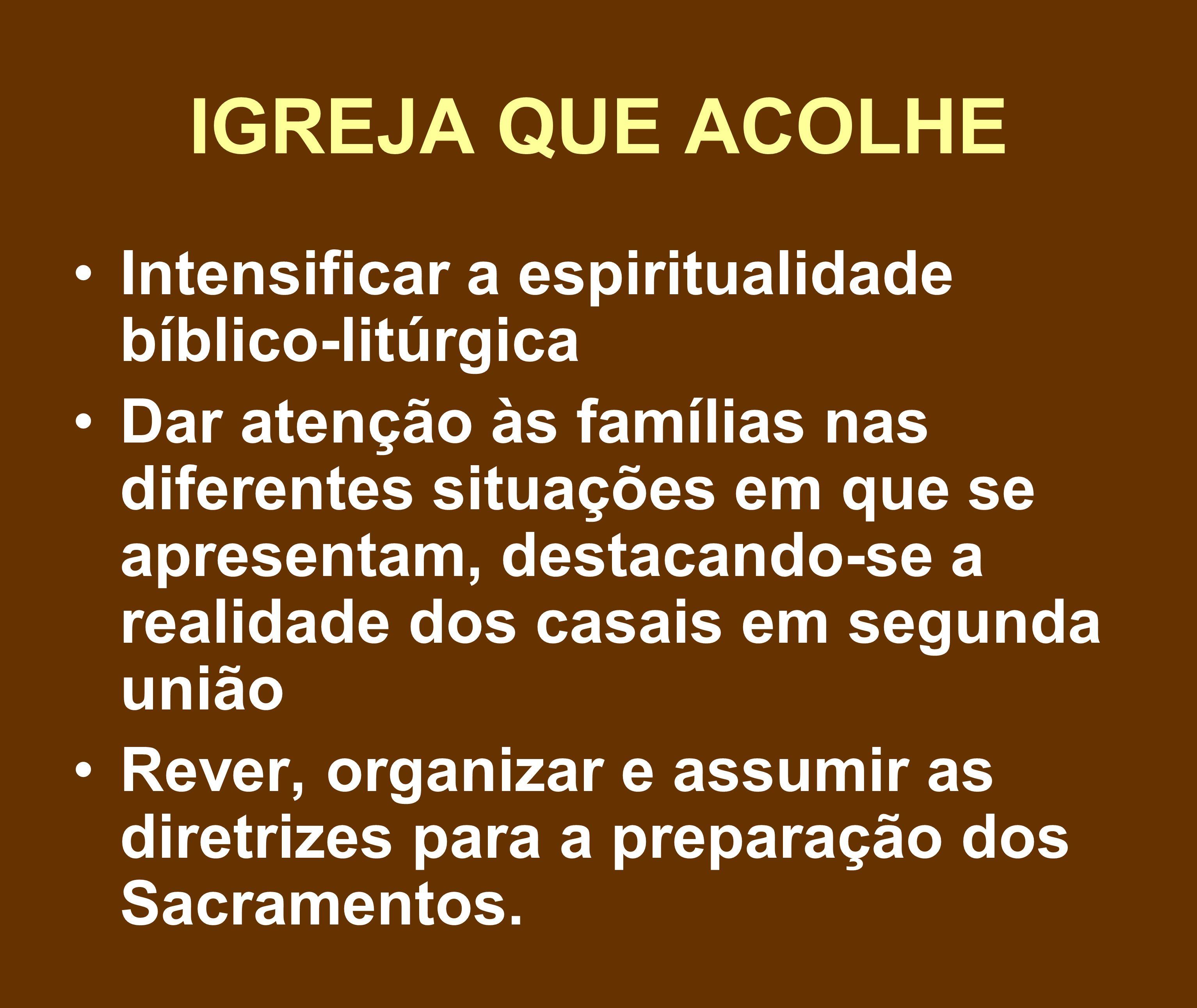 IGREJA QUE ACOLHE Intensificar a espiritualidade bíblico-litúrgica Dar atenção às famílias nas diferentes situações em que se apresentam, destacando-s