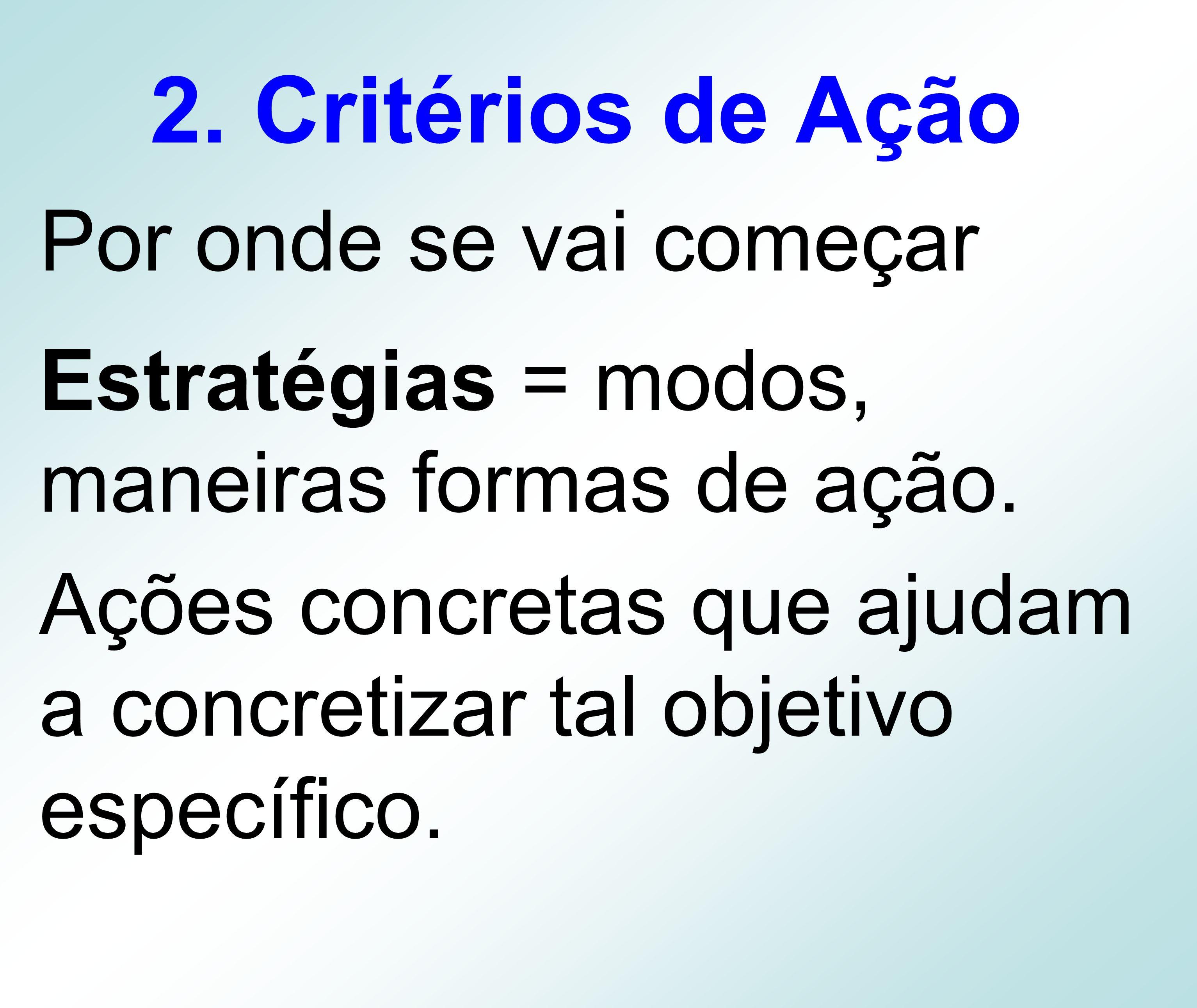 2. Critérios de Ação Por onde se vai começar Estratégias = modos, maneiras formas de ação. Ações concretas que ajudam a concretizar tal objetivo espec