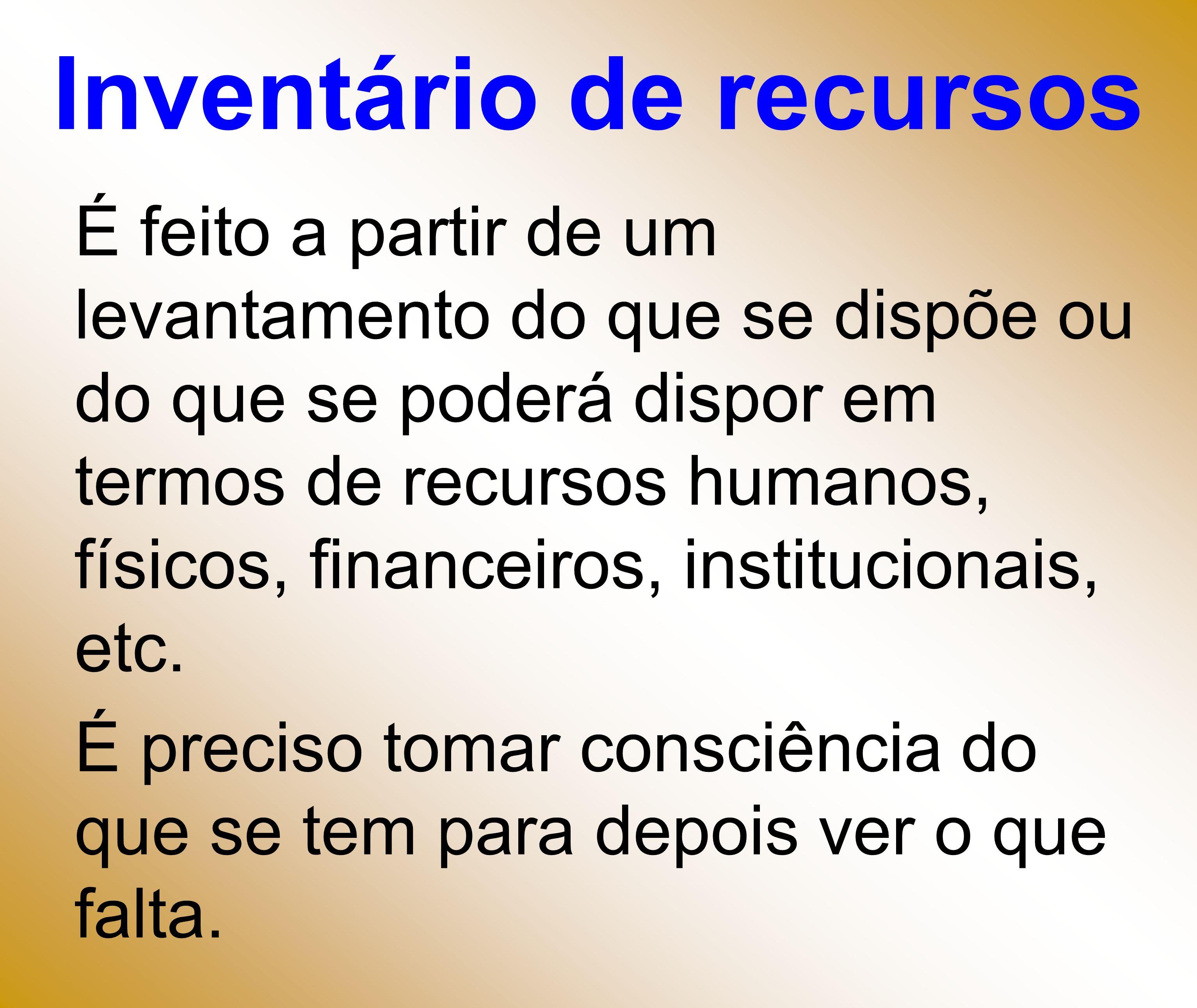 Inventário de recursos É feito a partir de um levantamento do que se dispõe ou do que se poderá dispor em termos de recursos humanos, físicos, finance