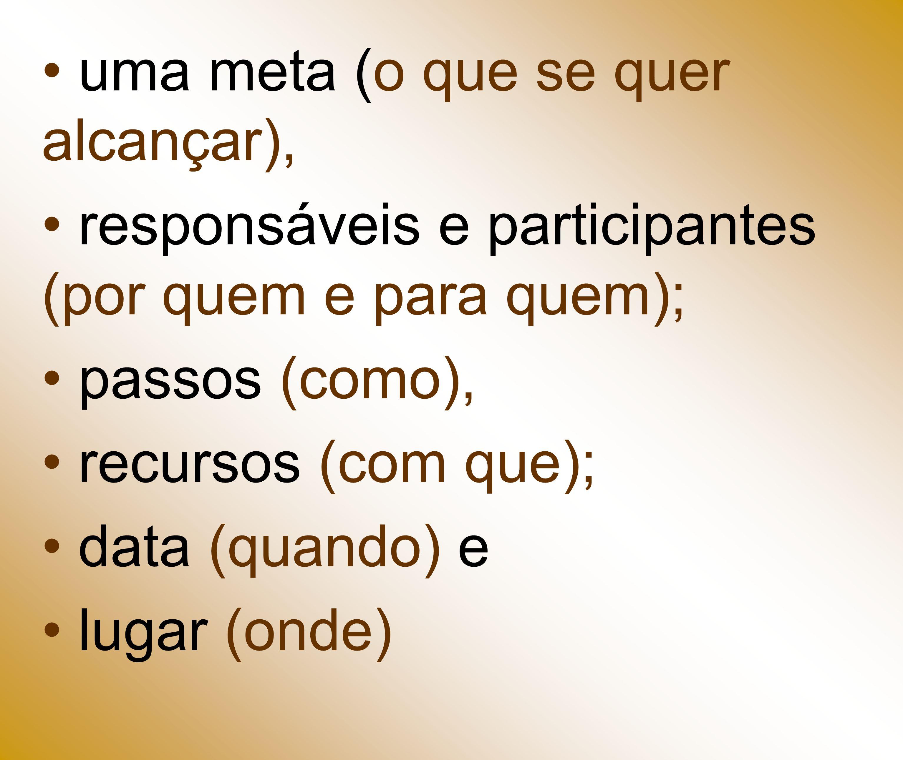 uma meta (o que se quer alcançar), responsáveis e participantes (por quem e para quem); passos (como), recursos (com que); data (quando) e lugar (onde