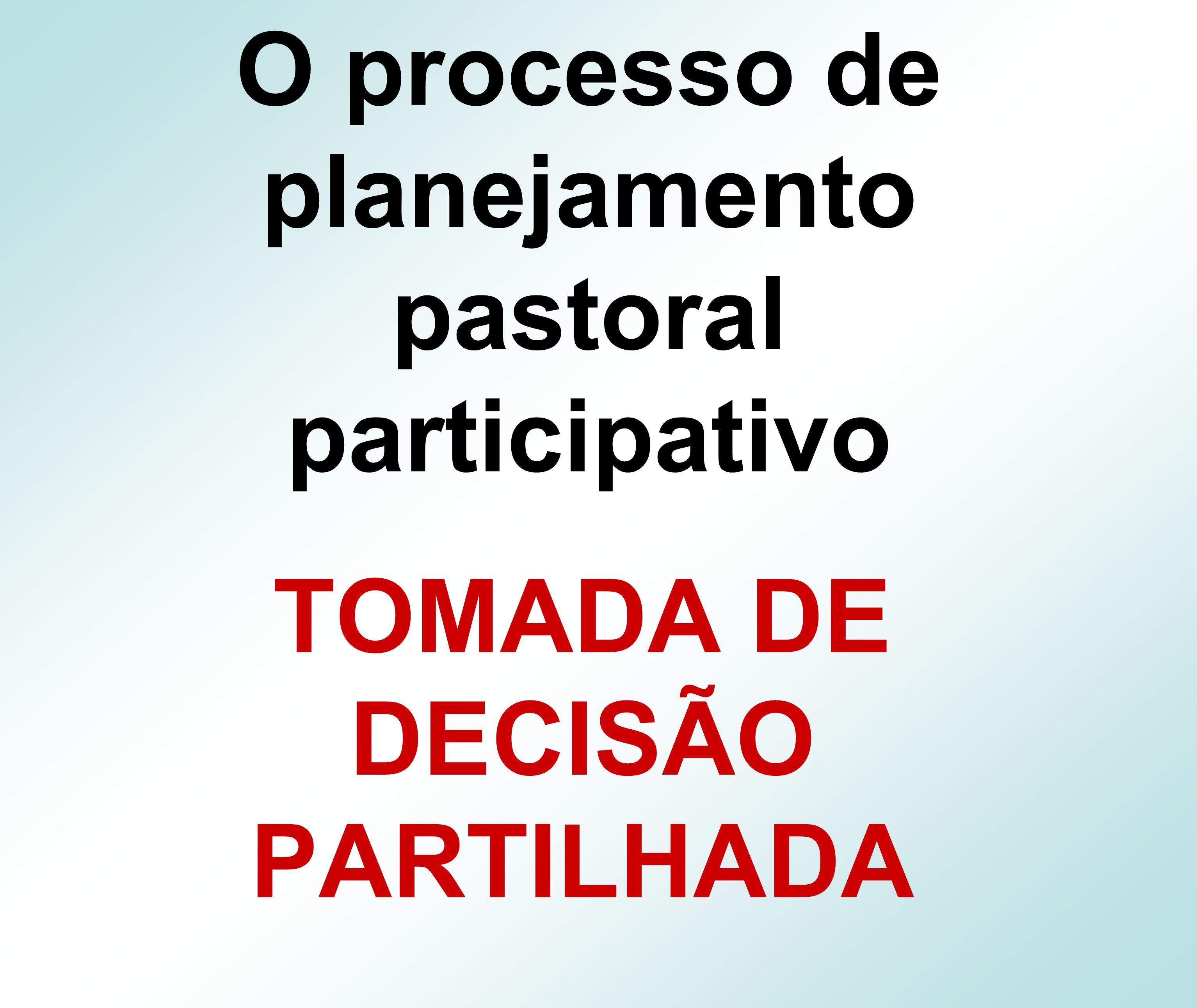 O processo de planejamento pastoral participativo TOMADA DE DECISÃO PARTILHADA