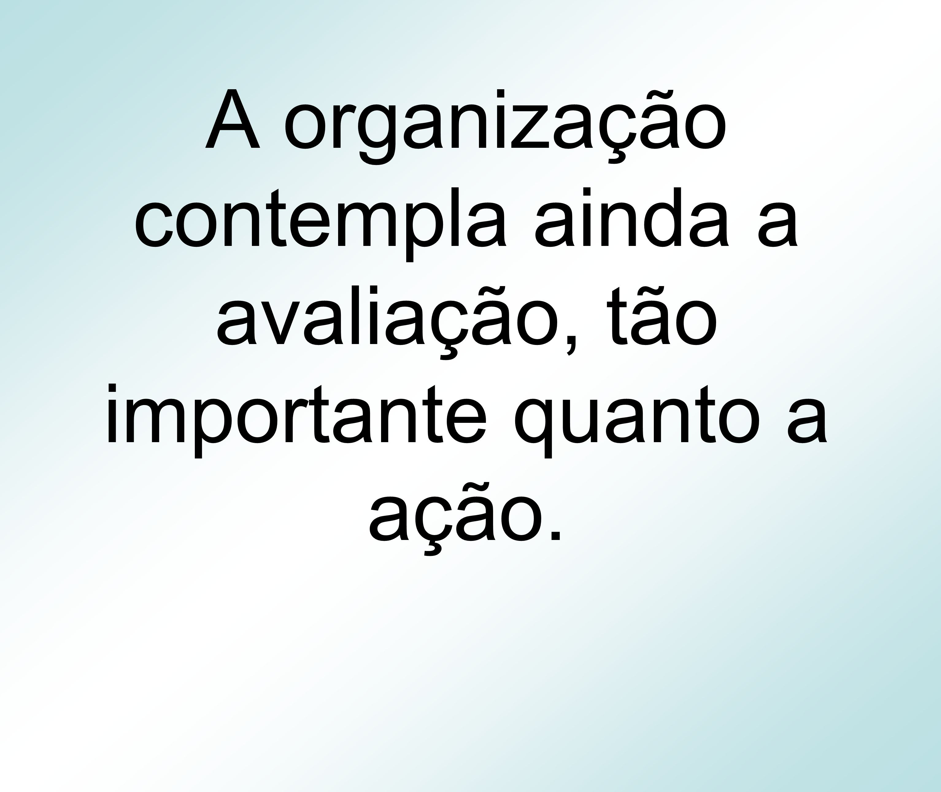 A organização contempla ainda a avaliação, tão importante quanto a ação.