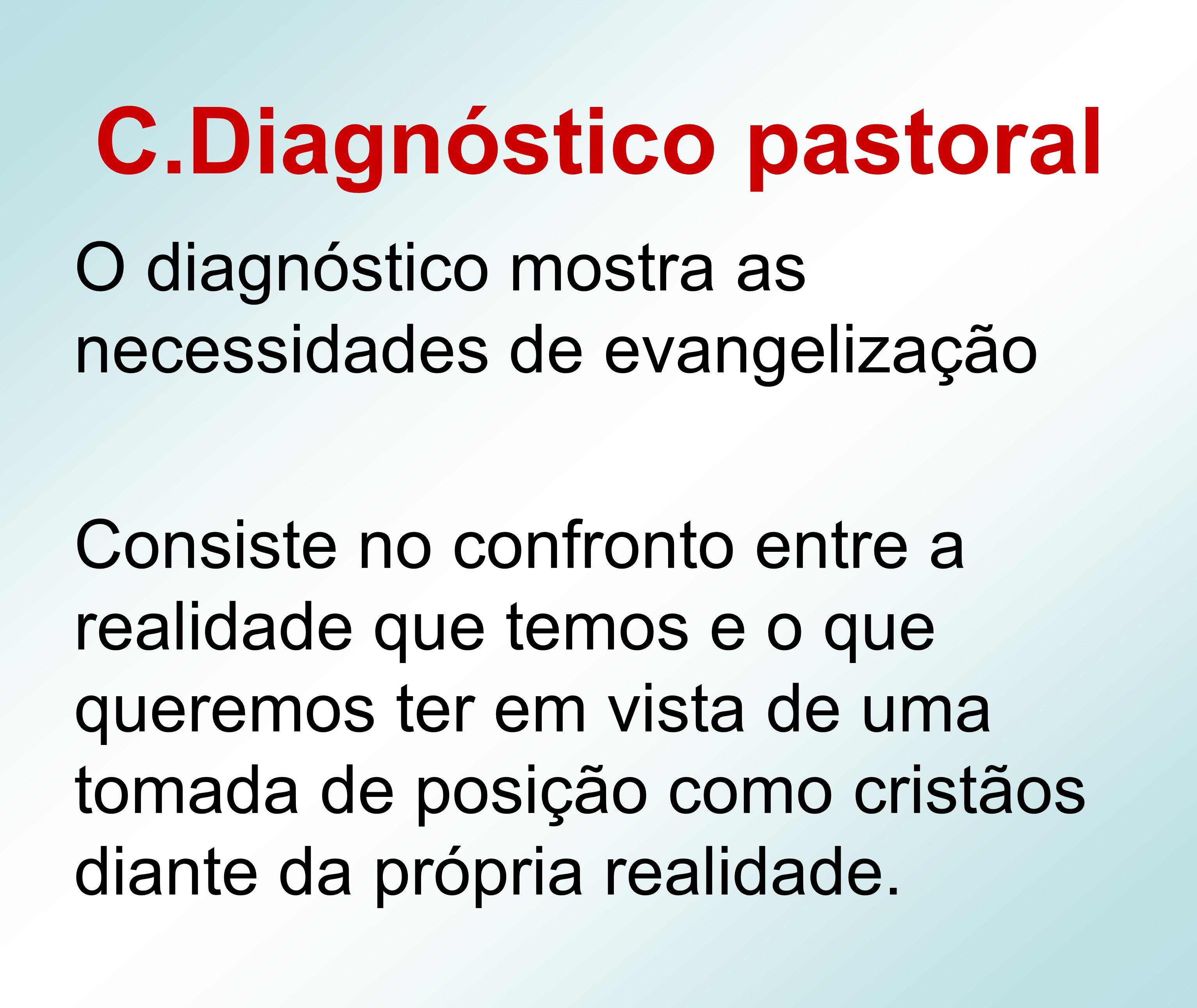 C.Diagnóstico pastoral O diagnóstico mostra as necessidades de evangelização Consiste no confronto entre a realidade que temos e o que queremos ter em