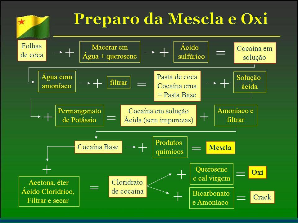 Folhas de coca Macerar em Água + querosene Cocaína em solução Ácido sulfúrico + + Água com amoníaco = + filtrar Pasta de coca Cocaína crua = Pasta Bas