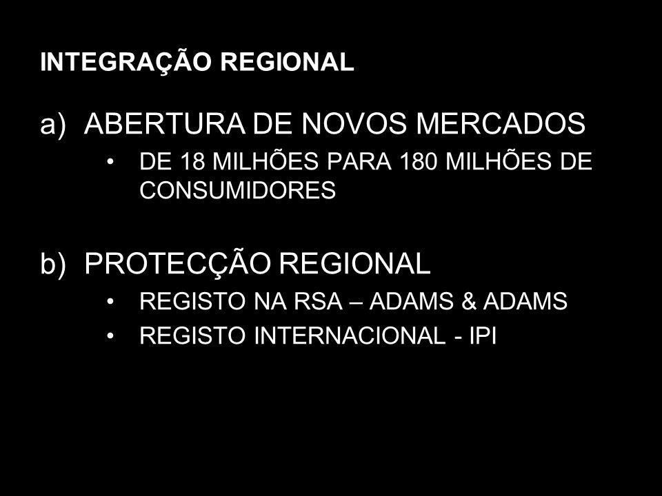 INTEGRAÇÃO REGIONAL a)ABERTURA DE NOVOS MERCADOS DE 18 MILHÕES PARA 180 MILHÕES DE CONSUMIDORES b)PROTECÇÃO REGIONAL REGISTO NA RSA – ADAMS & ADAMS RE