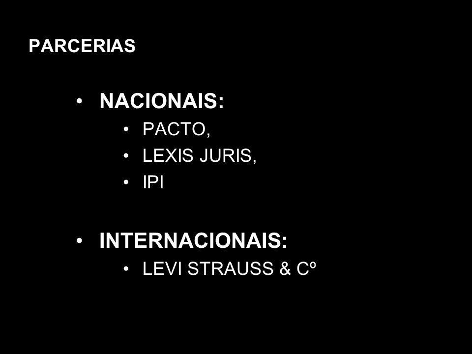 PARCERIAS NACIONAIS: PACTO, LEXIS JURIS, IPI INTERNACIONAIS: LEVI STRAUSS & Cº