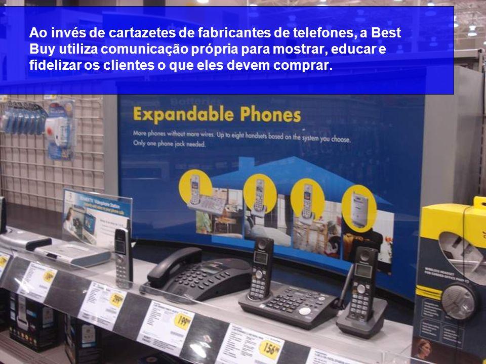 Ao invés de cartazetes de fabricantes de telefones, a Best Buy utiliza comunicação própria para mostrar, educar e fidelizar os clientes o que eles dev