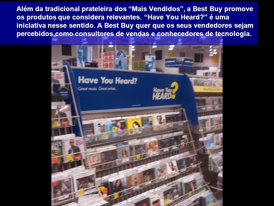 Além da tradicional prateleira dos Mais Vendidos, a Best Buy promove os produtos que considera relevantes. Have You Heard? é uma iniciativa nesse sent