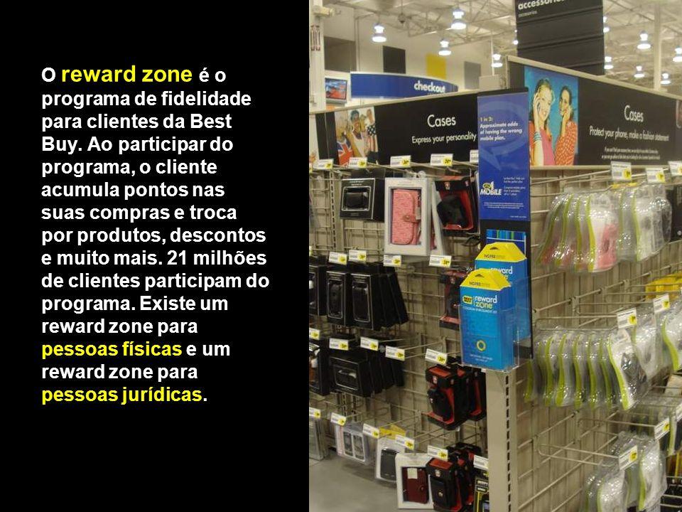 O reward zone é o programa de fidelidade para clientes da Best Buy. Ao participar do programa, o cliente acumula pontos nas suas compras e troca por p