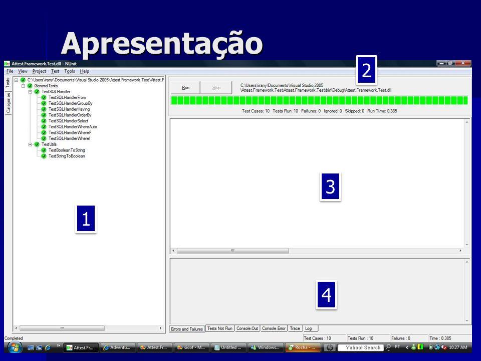 Apresentação 1.Tree-view contendo os testes na seguinte ordem: Namespace, Classe de Teste e Teste.
