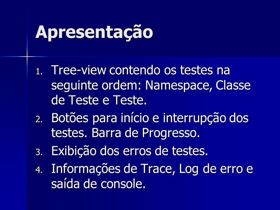 Apresentação 1. Tree-view contendo os testes na seguinte ordem: Namespace, Classe de Teste e Teste. 2. Botões para início e interrupção dos testes. Ba