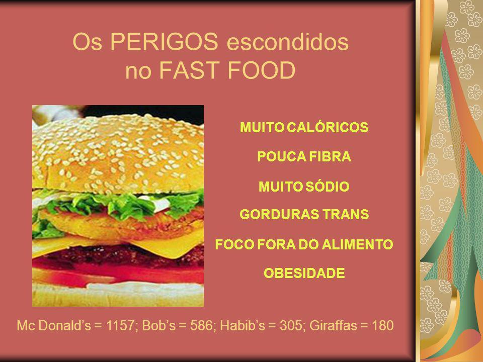 Os PERIGOS escondidos no FAST FOOD MUITO CALÓRICOS POUCA FIBRA MUITO SÓDIO GORDURAS TRANS FOCO FORA DO ALIMENTO OBESIDADE Mc Donalds = 1157; Bobs = 58