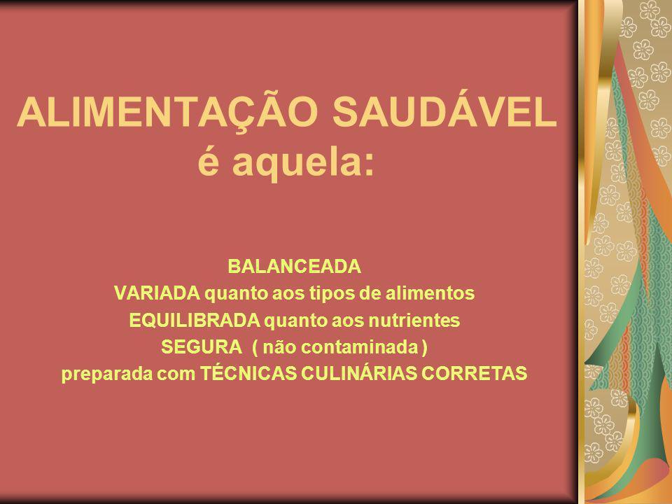 ALIMENTAÇÃO SAUDÁVEL é aquela: BALANCEADA VARIADA quanto aos tipos de alimentos EQUILIBRADA quanto aos nutrientes SEGURA ( não contaminada ) preparada