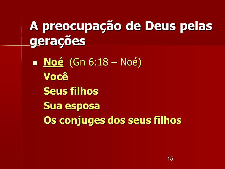 15 A preocupação de Deus pelas gerações Noé (Gn 6:18 – Noé) Noé (Gn 6:18 – Noé)Você Seus filhos Sua esposa Os conjuges dos seus filhos