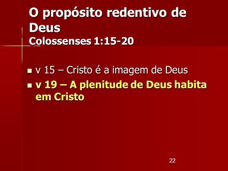 22 v 15 – Cristo é a imagem de Deus v 15 – Cristo é a imagem de Deus v 19 – A plenitude de Deus habita em Cristo v 19 – A plenitude de Deus habita em