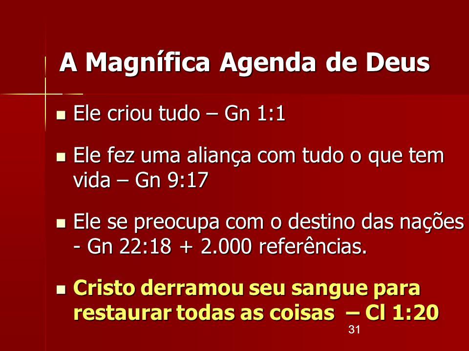 31 Ele criou tudo – Gn 1:1 Ele criou tudo – Gn 1:1 Ele fez uma aliança com tudo o que tem vida – Gn 9:17 Ele fez uma aliança com tudo o que tem vida –