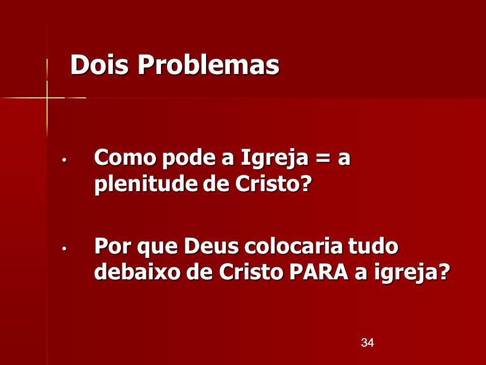 34 Dois Problemas Como pode a Igreja = a plenitude de Cristo? Como pode a Igreja = a plenitude de Cristo? Por que Deus colocaria tudo debaixo de Crist