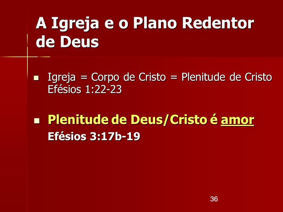36 A Igreja e o Plano Redentor de Deus Igreja = Corpo de Cristo = Plenitude de Cristo Efésios 1:22-23 Igreja = Corpo de Cristo = Plenitude de Cristo E